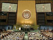 UN General Assembly in session on 20 September