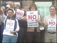 Protesters opposing plans for a wind farm at Laughton
