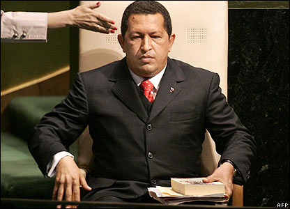 Hugo Chavez waits to address the General Assembly