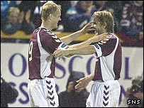 Juho Makela (left) celebrates with Robbie Neilson