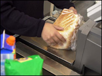 Buying bread in a supermarket