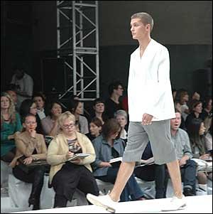 Model in shorts