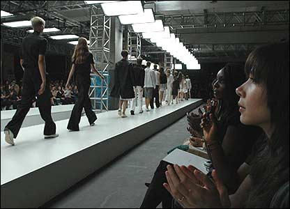 Models on catwalk and audience at the Aquascutum show