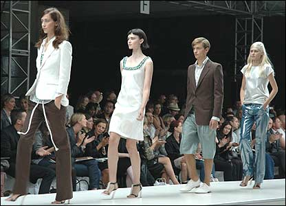 Models from the Aquascutum show