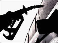 Person filling car with petrol
