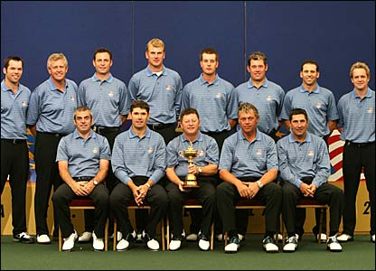 The European team Ryder Cup team pose for a photo
