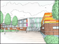 The designs for Durham Johnston School. Architect's impression: RyderHKS