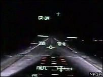 Cockpit footage of the landing  Image: Nasa