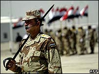 Iraqi soldier on parade at the handover ceremony