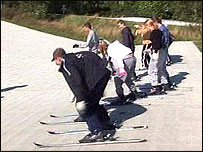 Kevin Alderton skiing with his group