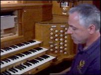Restorer Richard Payne at the keyboard