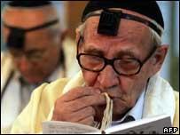 Iranian Jews perform their morning prayer