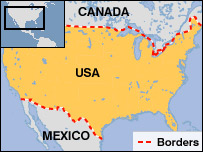 Map of US and its borders