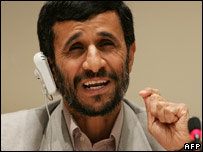 Iranian President Mahmoud Ahmadinejad at press conference at UN [21 Sept]