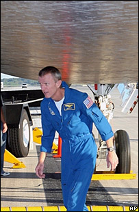 Brett Jett on runway 33 after landing  Image: Nasa