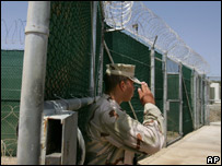 A US soldier stands guard outside Camp Delta, Guantanamo Bay