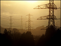 Pylons in the sunset