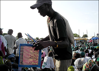 A man sells fans