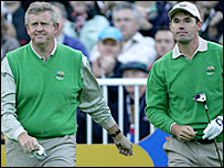 Europe's Colin Montgomerie and Padraig Harrington