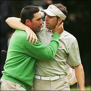 Olazabal and Garcia celebrate their win