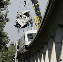 Crashed Maglev train