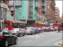 Traffic queuing on Oxford Road, Manchester