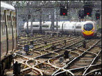 The Virgin train leaves Glasgow Central