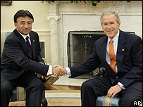 Pakistani President Pervez                            Musharraf and US President George W Bush