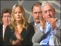 Dafydd Wigley (right) joins in the applause during Ieuan Wyn Jones' speech