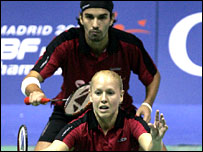 Gail Emms and Nathan Robertson in action