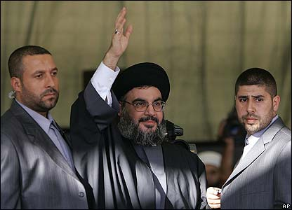 Sheikh Nasrallah waves to the crowds