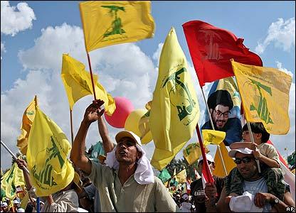 Cheering Hezbollah supporters