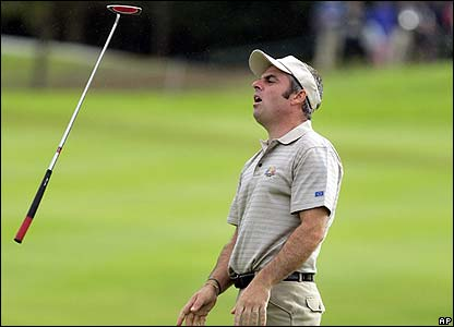 Europe's Paul McGinley shows his frustration on the 16th