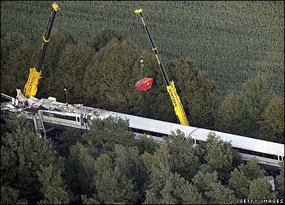 Aerial view of the damaged train