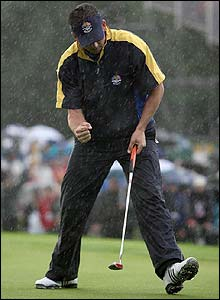 Spain's Sergio Garcia celebrates a birdie at the 2nd