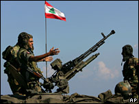Lebanese soldiers on border with Israel, 23 September