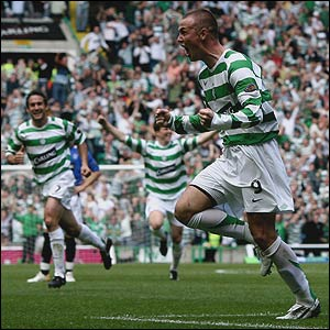 Kenny Miller is jubliant after scoring against his old club