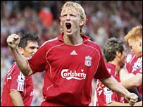 Dirk Kuyt celebrates his strike for Liverpool against Spurs