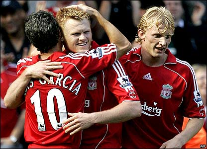 Mark Gonzalez, John Arne Riise and Dirk Kuyt all score against Spurs at Anfield