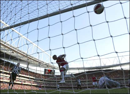 Thierry Henry heads home for Arsenal's third goal