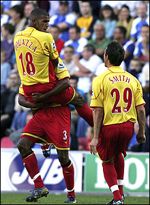 Hameur Bouazza celebrates his equaliser for Watford