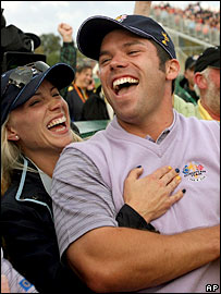 Europe's Paul Casey celebrates his hole-in-one