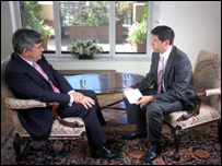 Gordon Brown and Jon Sopel