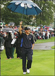 Sergio Garcia is cheered by the crowd en route to the furst tee