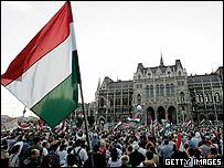 Tens of thousands of protestors demonstrate in front of the Parliament building during an anti-government demonstration 23 September, in Budapest, Hungary