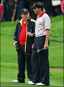 Woosnam talks to the defeated Garcia