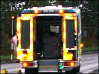 Ambulance at scene - Picture by Duncan Kirkhope