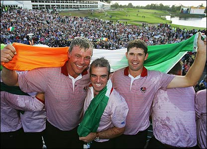 Darren Clarke, Paul McGinley and Padraig Harrington hold the Irish flag aloft