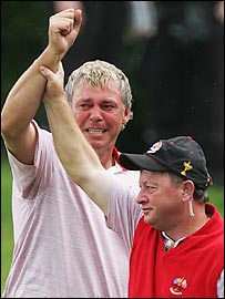Darren Clarke and Ian Woosnam shared emotional scenes at the end