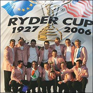 Europe celebrates at the closing ceremony of the 36th Ryder Cup